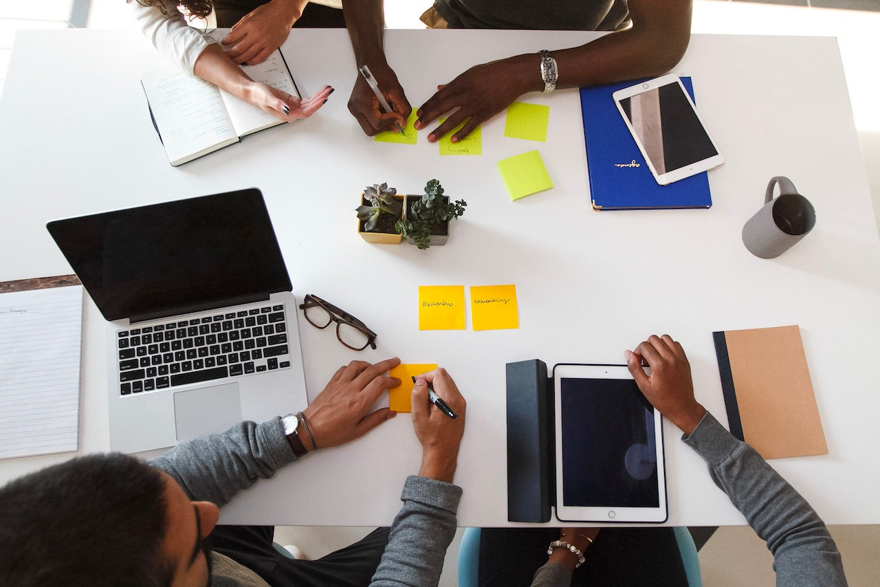 Team planing an employee communications plan