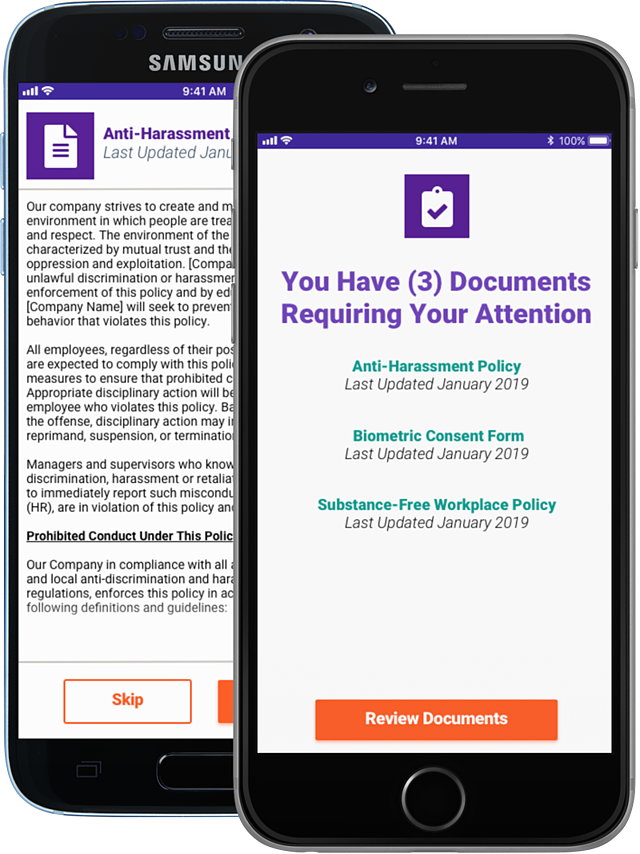 Mobile Digital Employee Agreements on iPhone and Android