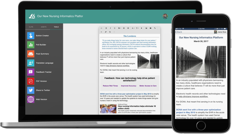 Image of a message creation tool for creating internal newsletters and messages for intranets.