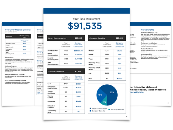 A pdf document showing employee compensation and benefits.
