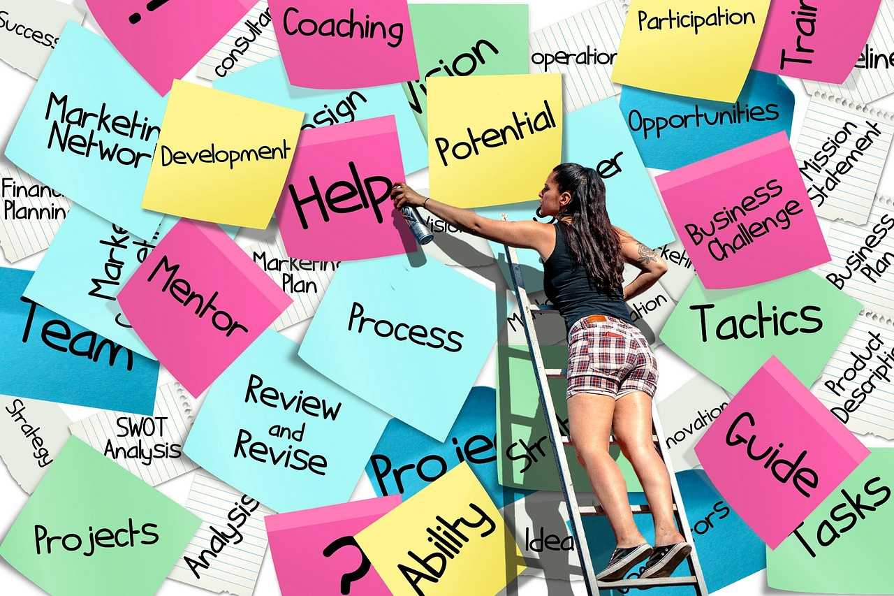 Woman on ladder spray painting ideas on sticky notes