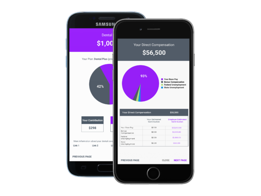 An iphone and android app to view employee benefits